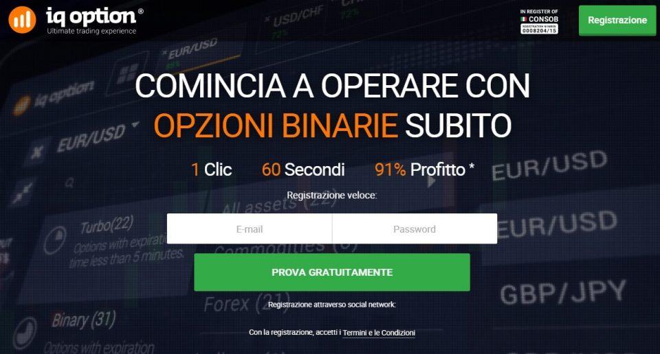 Registrazione a iq option
